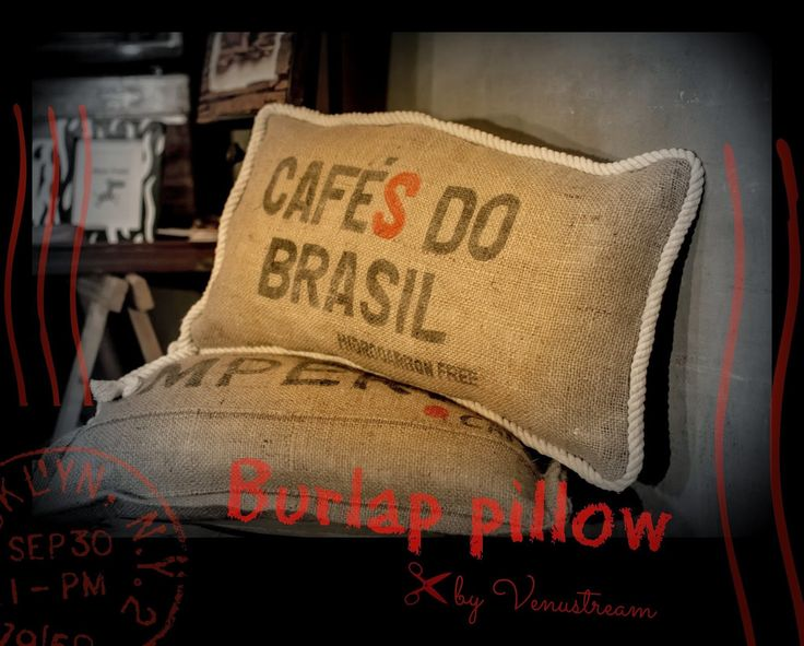 Pillow made from burlap/coffee sacks & cotton rope ..
