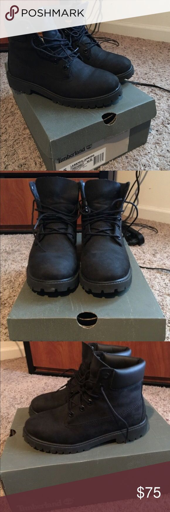 All Black Waterproof Timberlands Size 5 in Juniors. All Black Waterproof Timberlands. Worn only a few times and well taken care of. Timberland Shoes Combat & Moto Boots
