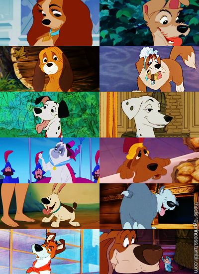 Disney Dogs: Lady, Tramp, Copper, Nana, Pongo, Perdita, Percy, Stella, Little Brother, Max, Dodger, and Toby