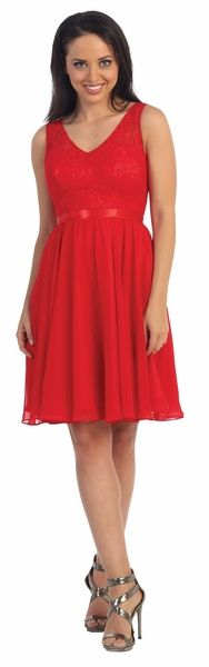 Short Red V-Neck Semi Formal Dress #discountdressshop #reddress #shortdress #semiformal #bridesmaids