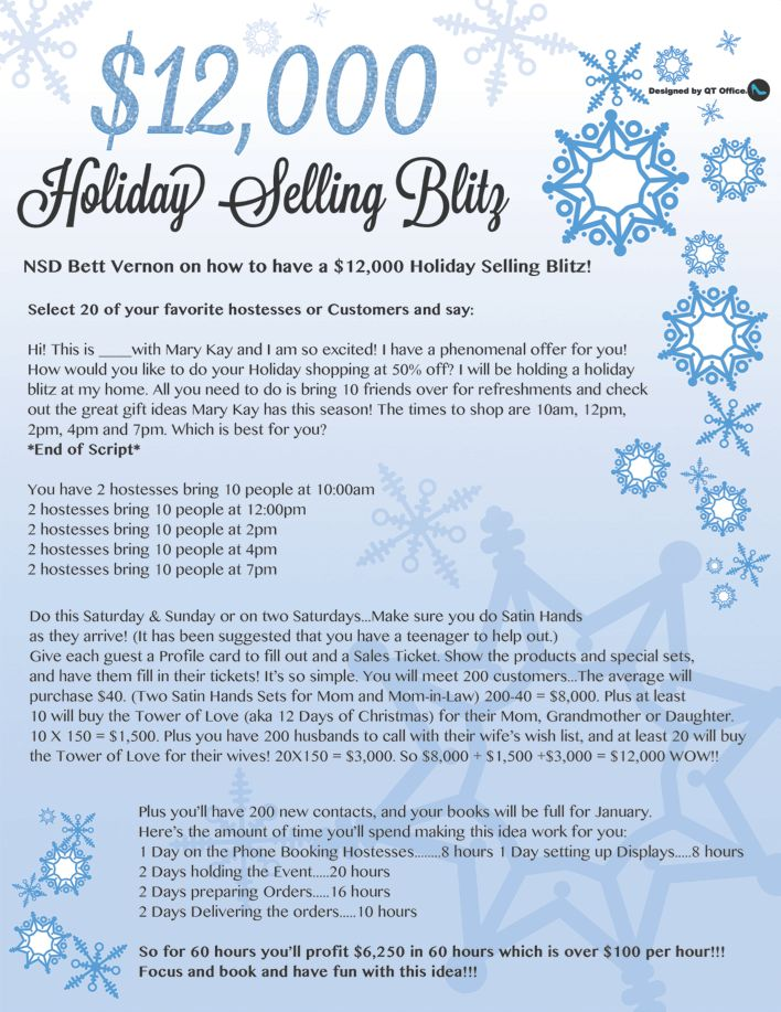 QT Office® has designed a Mary Kay® Holiday Selling Blitz freebie flyer for you to expand your Mary Kay® holiday selling ideas! We are keeping the Mary Kay®