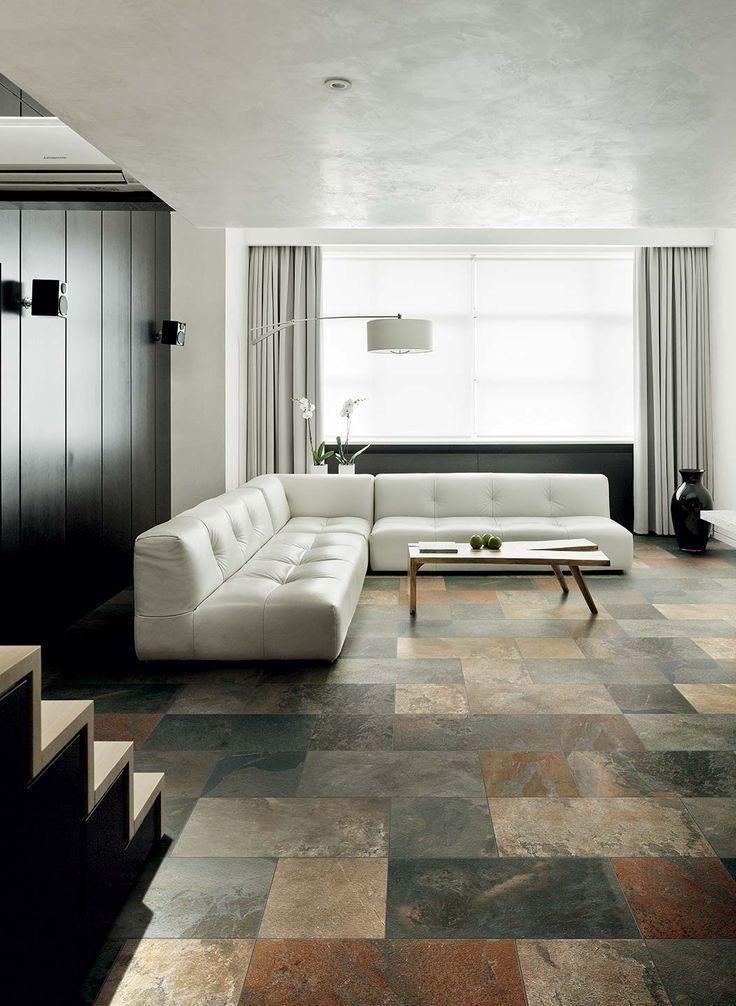 Ceramic stone for rustic flooring: Urban Slate Collection #stone #colored #flooring #intern #living #room #idea #classic #rustic