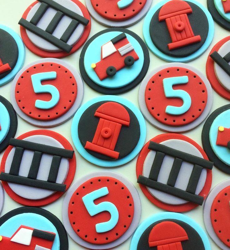 Fireman fondant cupcake toppers
