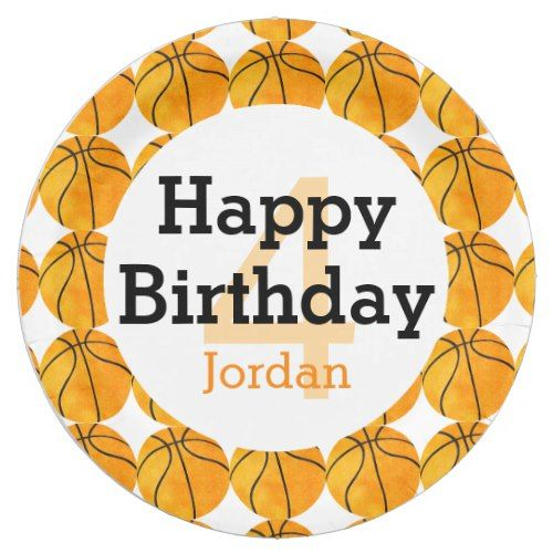 Kids Personalized Basketball Happy Birthday Sports Paper Plate
