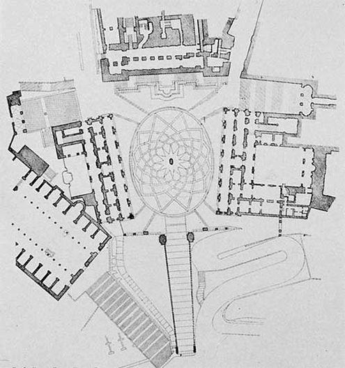 plaza del campidoglio roma palacio nuevo museos capitolinos  escultura marco aurelio escalinata remodelación miguel angel buonarroti planta drawings 1526-495