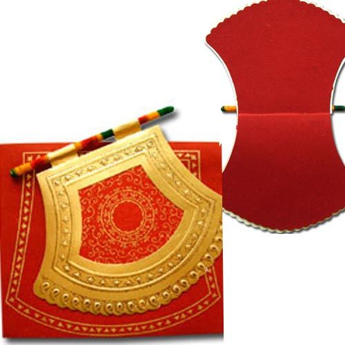 """Punjabi """"pakhi"""" (fan) shaped wedding invitations! Not exactly like the picture but I love the concept!!"""