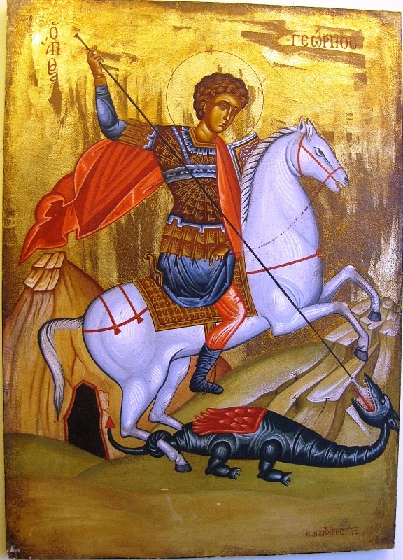 Agiography, Saint george by Konstantinos Kountouris,tempera with leaves of gold  size:70x50