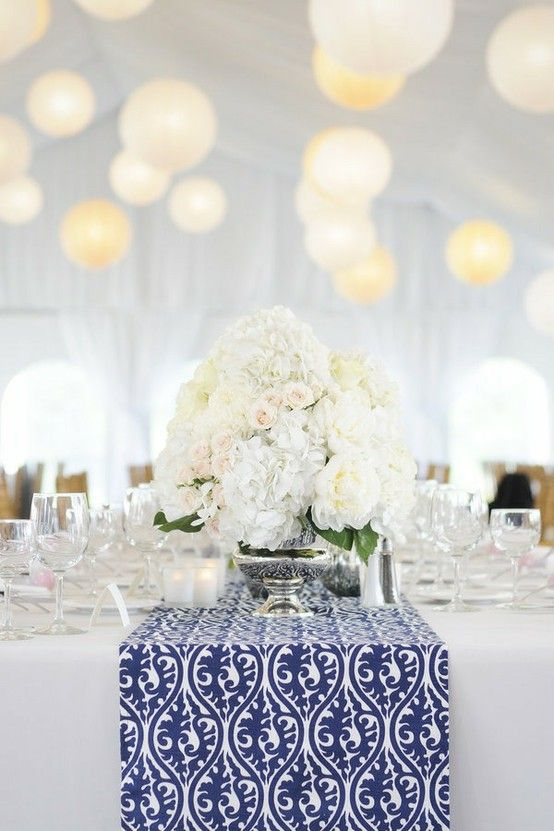 Trendy Wedding, blog idées et inspirations mariage ♥ French Wedding Blog: Le twist déco : un chemin de table à motifs bleu marine