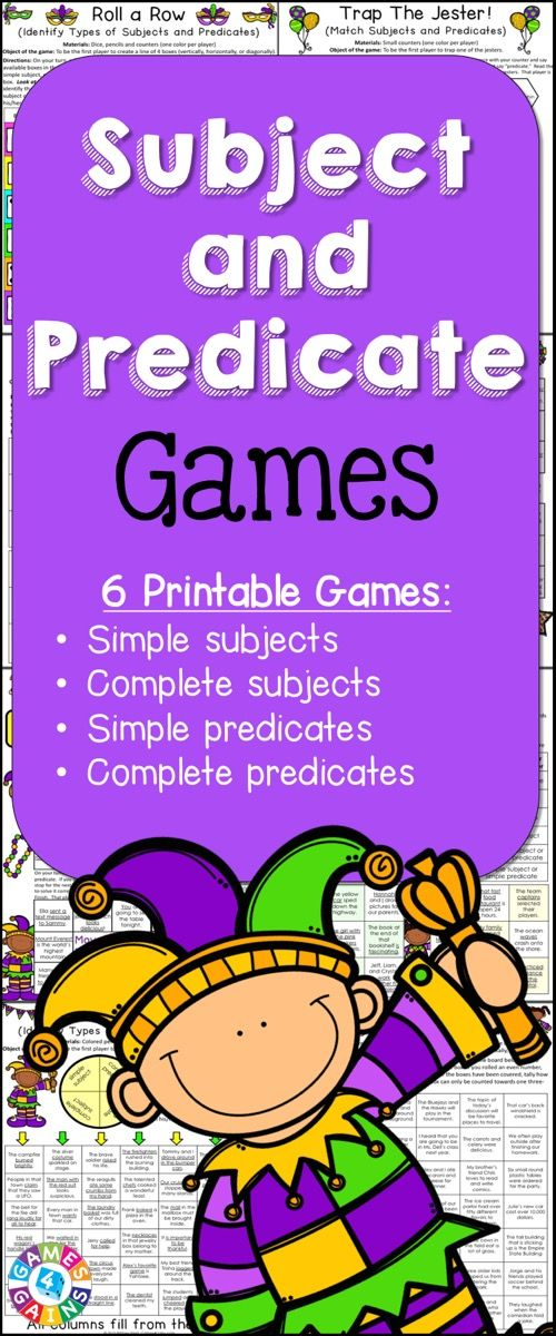 Looking for fun ways to practice subjects and predicates? This Subject and Predicate Games packet contains 6 fun and engaging printable board games to help students to practice identifying simple subjects, complete subjects, simple predicates, and complete predicates! https://www.teacherspayteachers.com/Product/Subject-and-Predicate-2055112