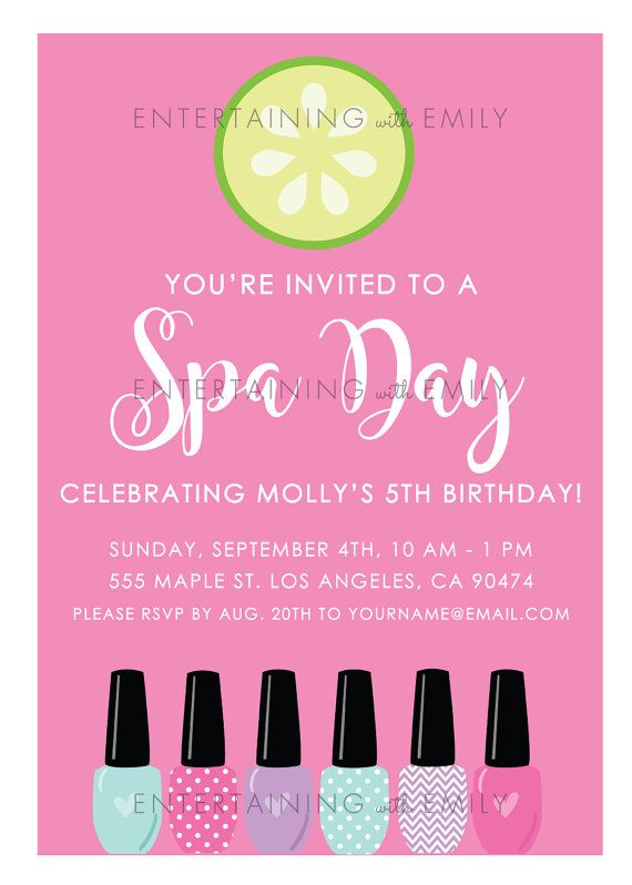 This listing is for (1) digital PDF printable file via instant download. No printed material will be shipped. The file size is set up at 5 wide by 7 tall. In the listing photos, this Spa Party invitation sets the perfect relaxing mood for the guests of your Home Spa Party or Girls Spa Day Party! The best part about this invitation is that you are able to edit it yourself, meaning no turn around time for you to wait for me to edit it for you! Simply open the PDF file, edit the fields and…