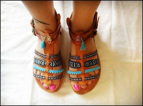 Handemade sandals, genuine leather, ethnic style,platform.