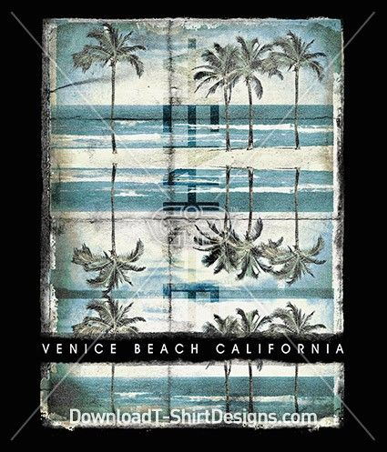 Vintage Palm Tree Venice Summer Beach California. Download this design & print on your T-Shirts or products today