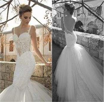Luxury Sexy Galia Lahav Wedding Dress 2014 Fish Tail Exotic Lace Sheer Vestido de Noiva Tulle/net White/ivory Bridal Gown