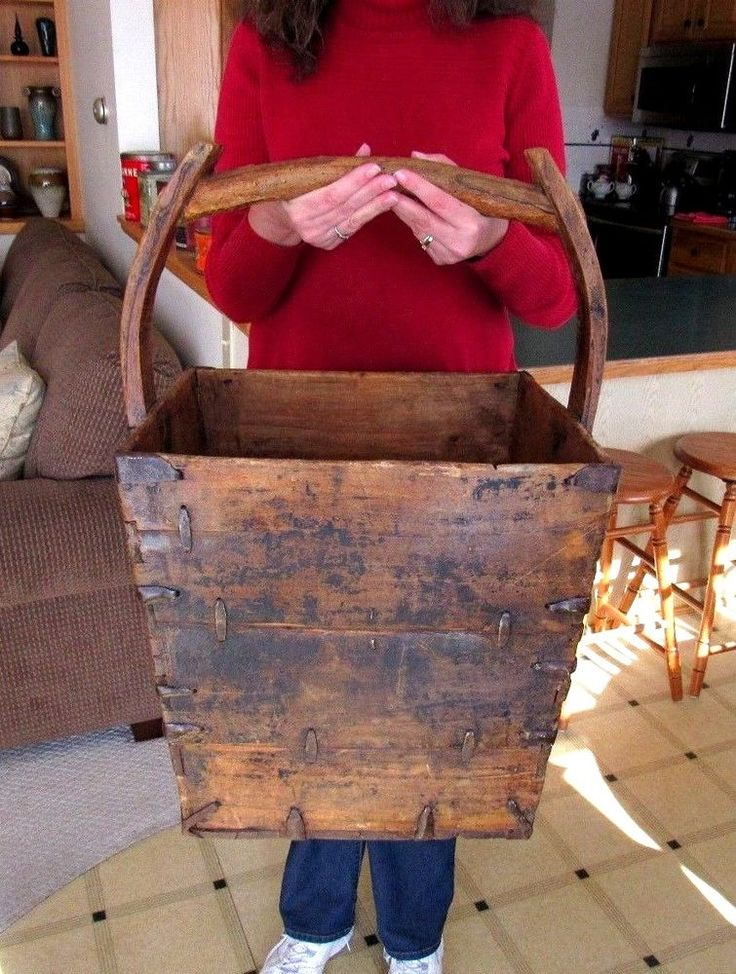 THIS IS A EARLY 1800's AMERICANA SQUARE WOOD BASKET WITH TREE LIMB HANDLE. ORIGINAL EARLY 1800's LARGE WOOD BASKET IN EXCELLENT AS FOUND USED CONDITION. THIS EXTREMELY RARE AND HIGHLY COLLECTABLE MUSEUM QUALITY BASKET WILL BE AN EXCELLENT ADDITION TO ANY COLLECTION. | eBay!