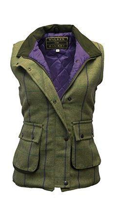 Damen Country-Weste aus Tweed - für die Jagd geeignet - Muster mit lila Streifen - Größen 34 bis 50
