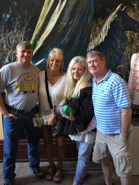 Savannah doesn't see many visitors from Bridger,  Montana  (pop. 950) but four of them showed up at the Savannah Visitor Center for tips on navigating the Wild Wild Southeast. Left to right: Mark and Shannon Brown DeRudder and Calista Montgomery and William A. Asbury II.