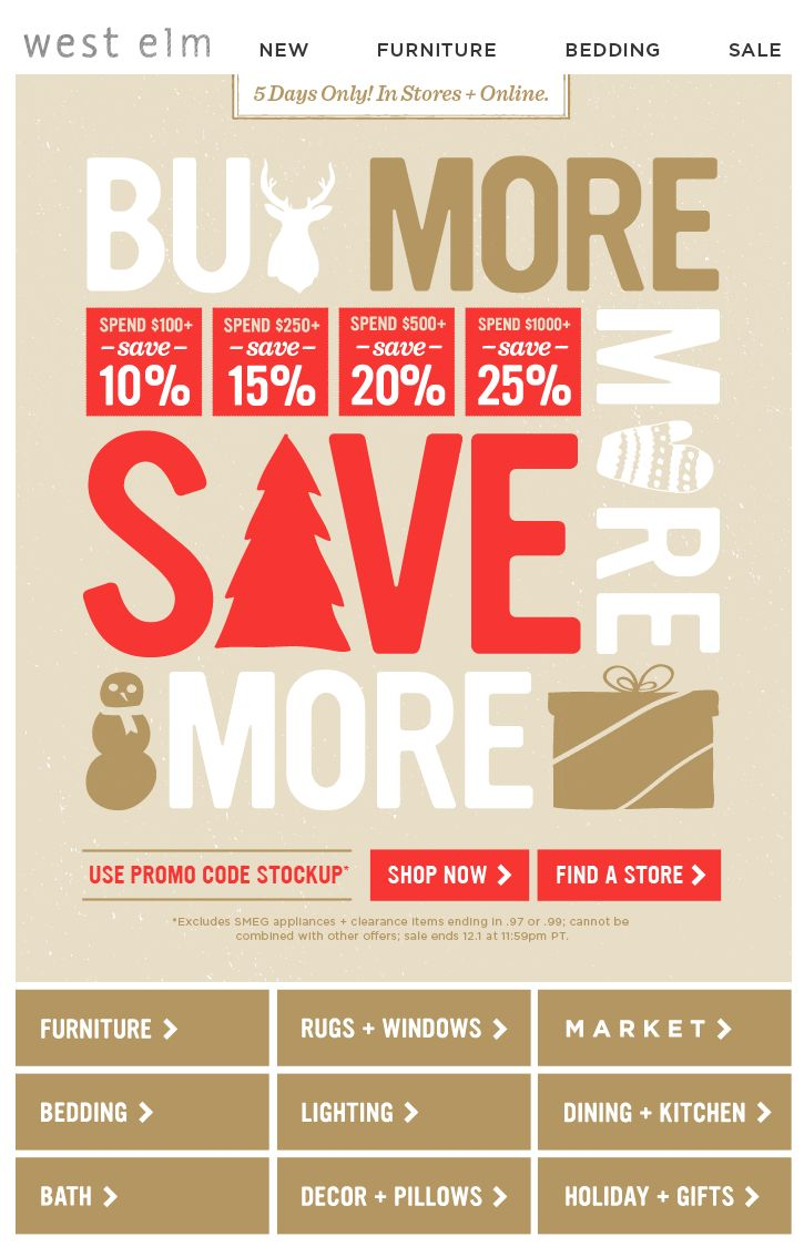 West Elm Holiday Sales Email