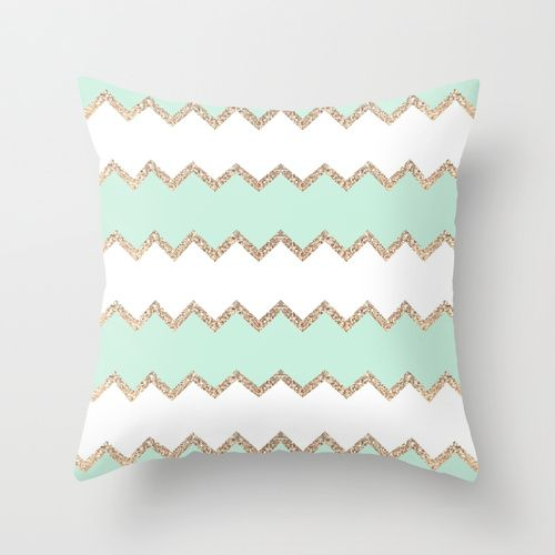 Decorative Pillows For Bed Green : Avalon seagreen White pillows, Glitter and Patterns