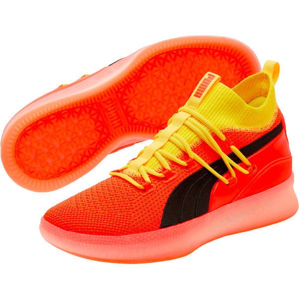 16529e1976d6 Details about Puma Clyde Court Disrupt Red Blast Yellow Basketball ...