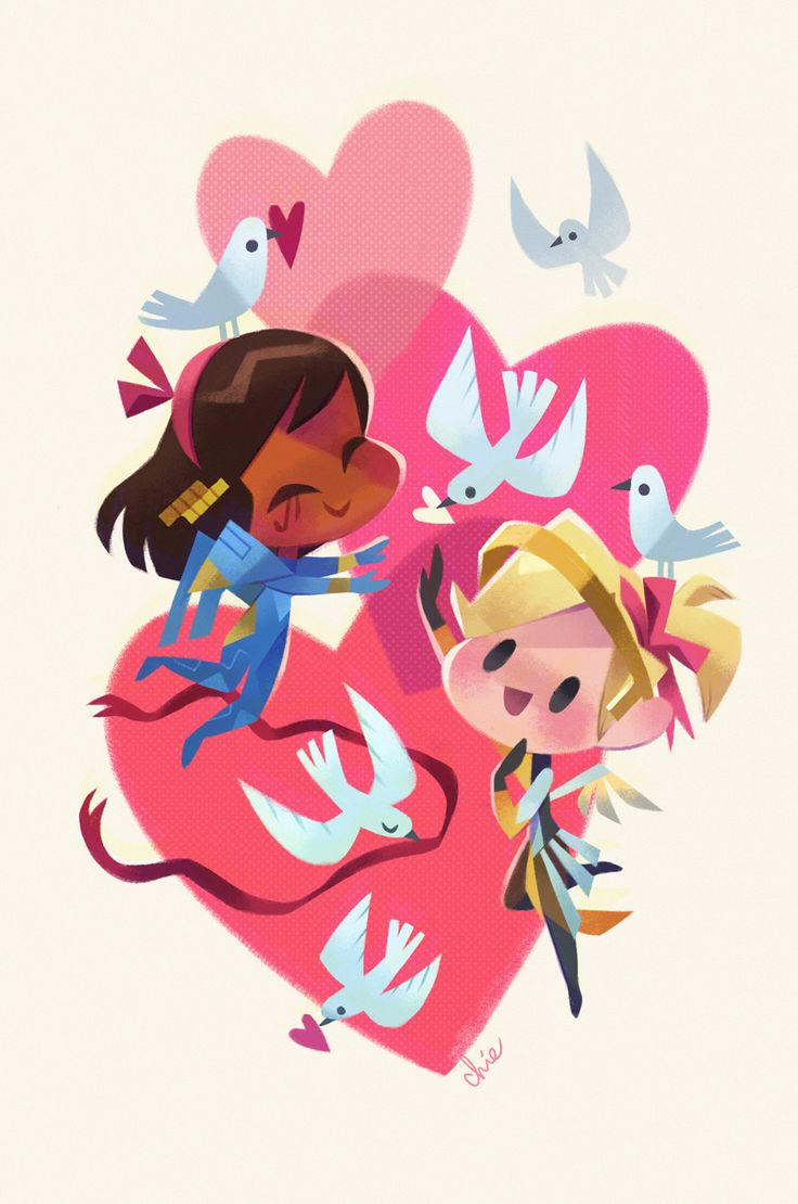happy valentine's day! bonus mercy and pharah i did for fun. take a peek at the valentine cards i did for the Overwatch Twitter!