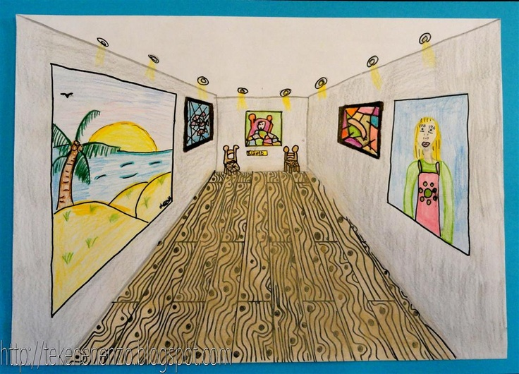 Museum voor moderne kunst Wat ingewikkelder perspectief tekenen