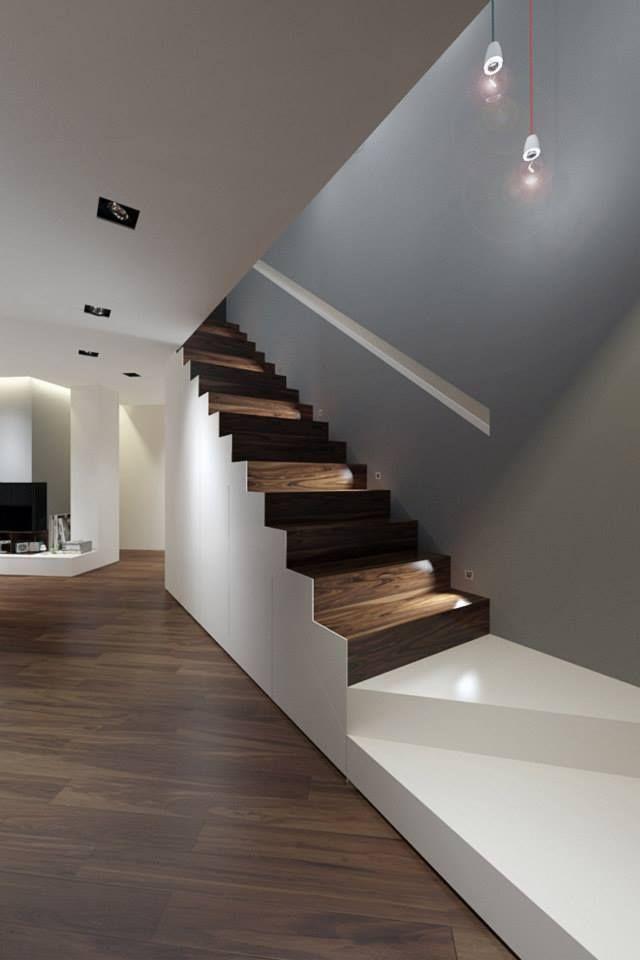 Line Architects - Angle 40 escalier bois rangements design