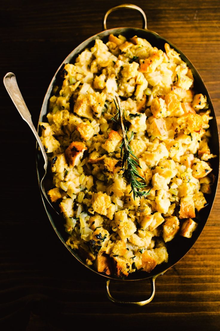 Essential Thanksgiving Recipe: Classic Sage & Onion Bread Dressing (Stuffing) Recipe. This is a classic EASY side dish for thanksgiving. You'll need onion, celery, white bread, chicken stock, and eggs.