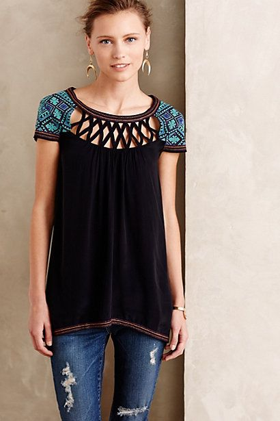 Embroidered Muscari Tunic #anthropologie The neckline makes this top interesting