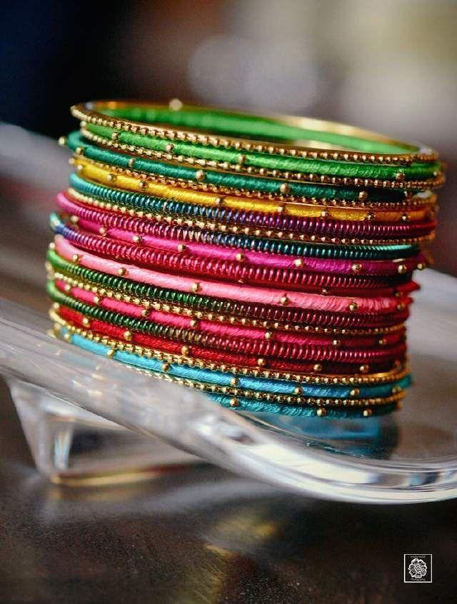 Colorful silk thread bangle