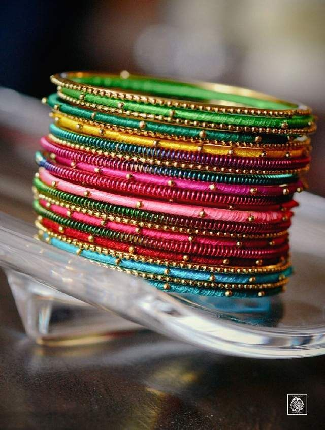 Colorful silk thread bangle