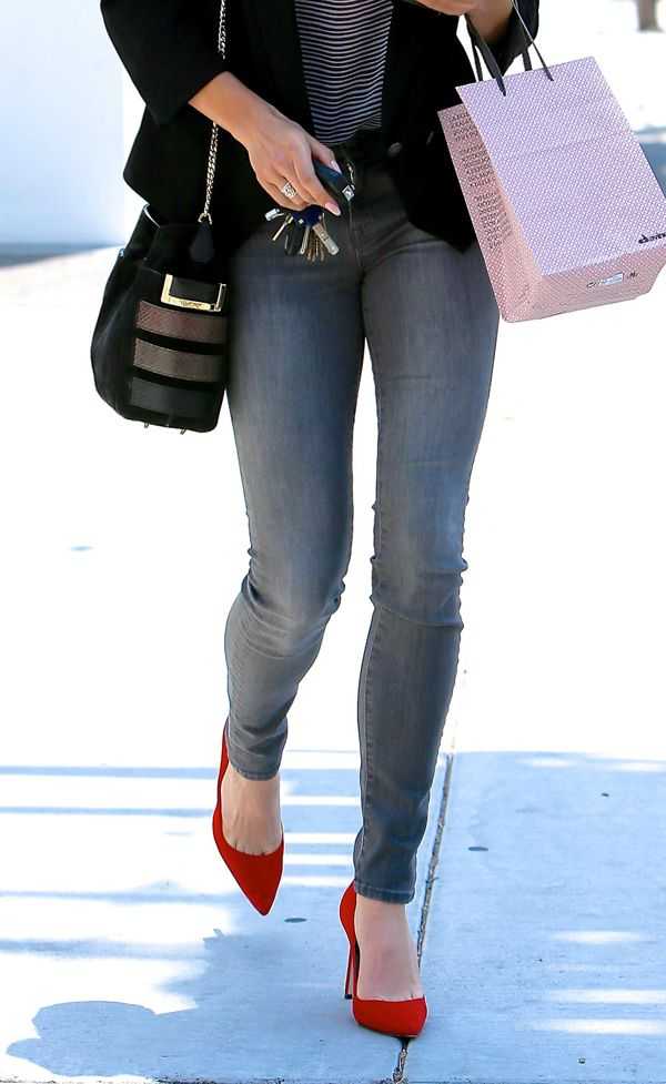 Nikki Reed spotted in jeans and red pumps leaving Andy LeCompte Salon in May 23, 2014