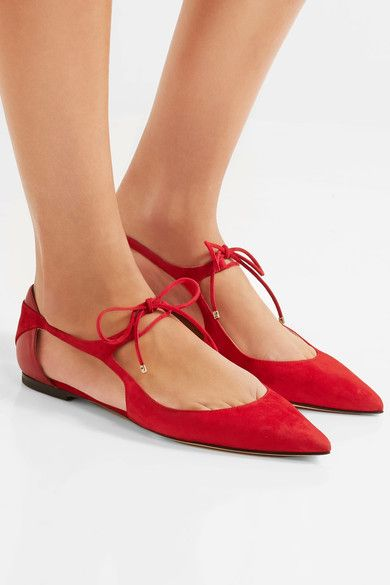 Jimmy Choo - Vanessa Cutout Suede And Leather Point-toe Flats - Red - IT