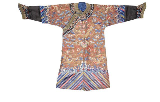 A chestnut silk gauze 'nine mang' man's semi-formal robe, jifu 19th century