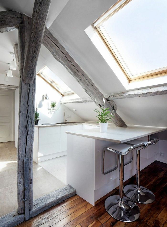 Küche mit Dachschräge \u2013 50 Ideen für ein auffälliges Küchendesign - küche in dachschräge