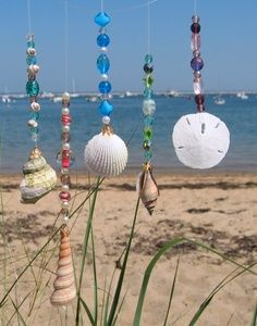 Not just beads and shells, I also see my small bits of jewellery, odd shaped wood, stones with holes swaying in the wind.