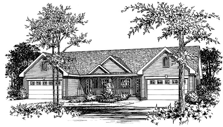 Eplans Country House Plan - Comfortable One-Story Duplex - 2622 Square Feet and 6 Bedrooms from Eplans - House Plan Code HWEPL08872