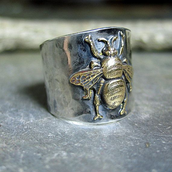 New addition to my bumble bee collection! Statement wide band ring with tapered back for comfort. ...from LavenderCottage on Etsy.
