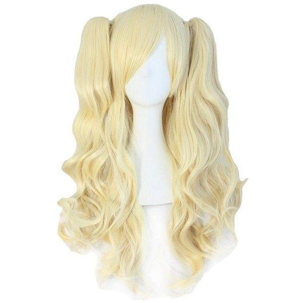 MapofBeauty Lolita Long Curly Clip on Ponytails Cosplay Wig (Light... (625 UYU) ❤ liked on Polyvore featuring beauty products