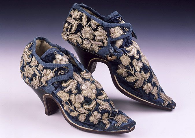 Blue velvet latchet tie shoes, c 1660, reputedly worn by Lady Mary Stanhope to court of Charles II. From The Shoe Collection,Northampton Museums & Art Gallery. (I know these are 17th c shoes, not 18th c, but they're just so lovely I had to include them!)