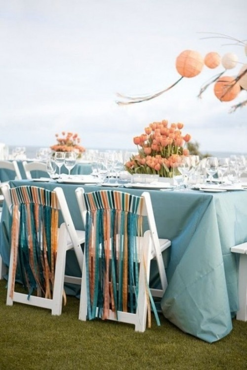 DIY chairs - painting and then tieing ribbons on folding chair is a great idea.Colors Combos, Dresses Up, Ribbons, Chairs Decor, Colors Schemes, Wedding Reception, Parties Ideas, Chairs Back, Wedding Chairs