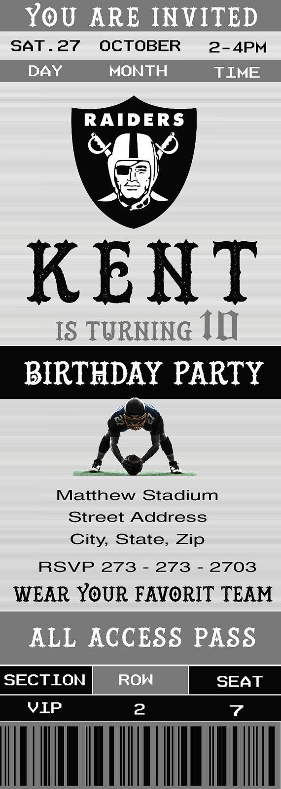 Oakland Raiders Birthday Invitation Footbal Ticket by LuckyStar273
