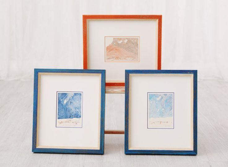 Three #pf #originalart by #czech #artist Jiri Anderle @jirianderle framed in #bologniarreda #frames, matching #britecores by #crescentcardboard and finished with #clarityglass by @larsonjuhl #customframing #ramovani #frameitcz #rámování #umění