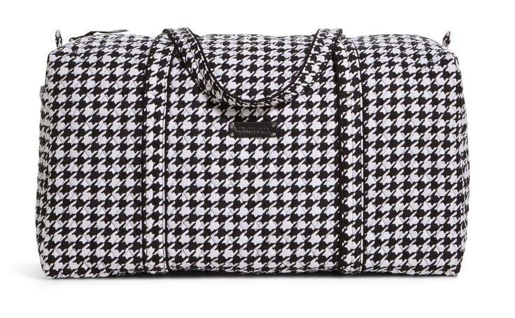Vera Bradley Large Duffel Bag Midnight Houndstooth Black White Travel Zipper NEW #VeraBradley
