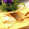 Gebakken visfilet met luchtig parmesankoekje en kruidensla/ fried fishfilet with parmesancookie and seasoned saladed