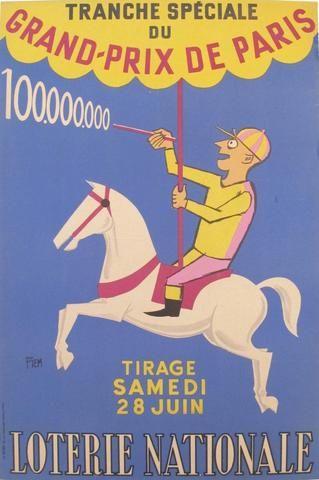 1958 French Loterie Nationale  Poster, Grand Prix de Paris by PIEM