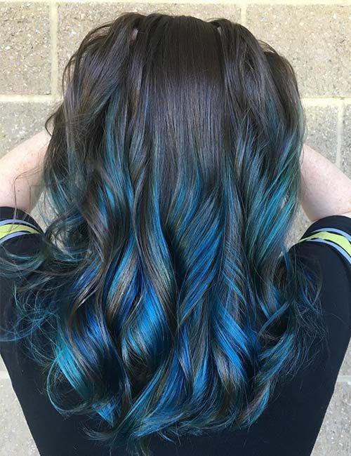 30 Best Highlight Ideas For Dark Brown Hair Blue Hair Highlights Dark Blue Hair Blue Brown Hair