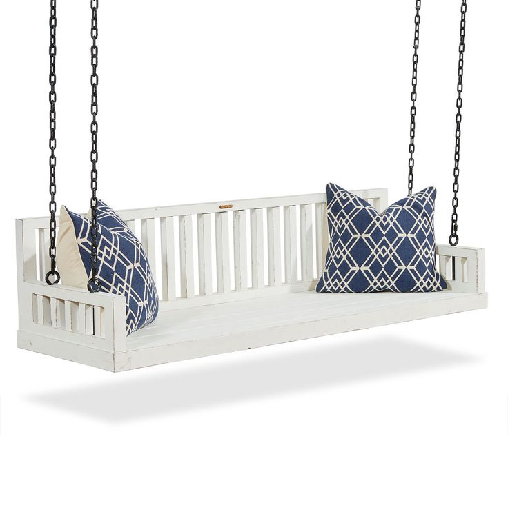In days gone by, porch swings were a staple on farmhouse porches to catch the cool breezes when the day's work was done. Our amply scaled Farmhouse Ferguson Porch Swing recalls that nostalgic time, and beckons you to chill out and watch the world go by. It does not come with chain or pillows. Customer assembly required. Magnolia Home designed by Joanna Gaines.