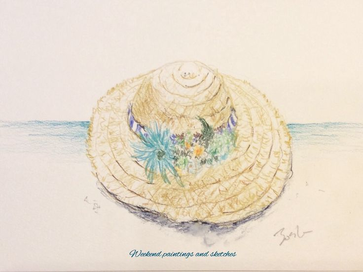 A straw hat Watercolour pencils