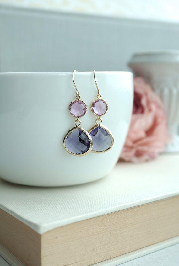 Púrpura y lavanda cristal oro había enmarcado gota pendiente