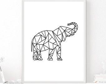 Geometrische Art, geometrische afdrukbare, geometrische olifant, geometrische dier, afdrukbare olifant, olifant kunst aan de muur, kwekerij Wall Art, Art Print